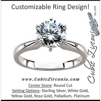 Cubic Zirconia Engagement Ring- *Clearance* A 2.0 Carat Round Cut Solitaire with Straight Edge Prongs in 14K White Gold