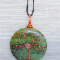 EARTH DAY RECYCLED Tree of Life wire wrapped Rainforest Jasper stone pendant Necklace