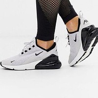 Nike Air Max 270 Fashion Men Women Casual Air Cushion Sport Running Shoes Sneakers Grey&Black