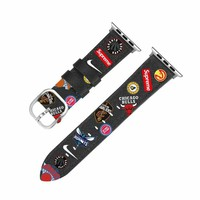 NBA Sports Team Leather Apple Watch Band - Black