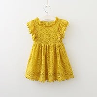 Toddler Girl Lace Dress with Flutter Sleeves and Pom Pom Trim
