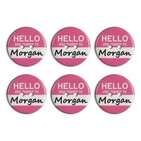 Morgan Hello My Name Is Plastic Resin Button Set of 6
