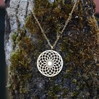 Sacred Geometry Sunflower Spiral Necklace