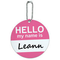 Leann Hello My Name Is Round ID Card Luggage Tag