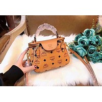 MCM Fashion New Ladies Shopping Bag Leather Zipper Buckle Crossbody Shoulder Bag Handbag  Satchel Brown