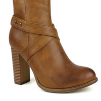 Downtown Abby Camel Booties