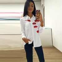 Women's Fashion Summer Ladies Print Chiffon Tops Shirt [9195373831]