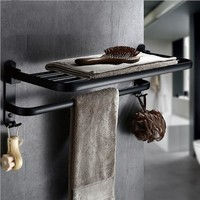 Black Wall Mounted Bathroom Foldable Towel Rack