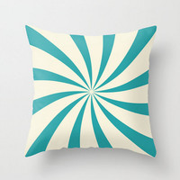 Teal Swirl Pillow Cover Circus Blue Cream Design Vintage Retro Pillow Case 16x16 18x18 20x20 Square Nursery Baby Child's Room