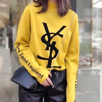 YSL Fashion Women Casual Print Long Sleeve Knit Sweater Top Sweatshirt Yellow