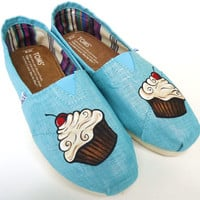 Cupcake on Turquoise custom TOMS by TheLibertyLama on Etsy