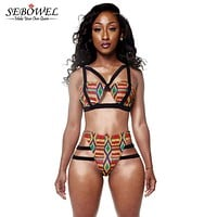 SEBOWEL Brazilian Tribal Print High Waist Bikini Swimsuit 2017 Caged Bandage Swim Suit Two Piece Swimwear Women Bathing Suit