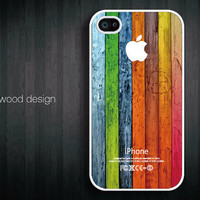 iphone 4 cover iphone 4 cases iphone 4s case Iphone Logo colorized wood texture image unique design printing
