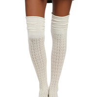 LOVEsick Cream Pointelle Knit Over-The-Knee Socks