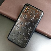 Skull Genuine Leather Case For iPhone X XS Max XR Cell Phone Thin Hard Cover