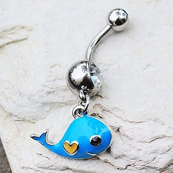 316L Stainless Steel Lovely Blue Whale Dangle WildKlass Navel Ring