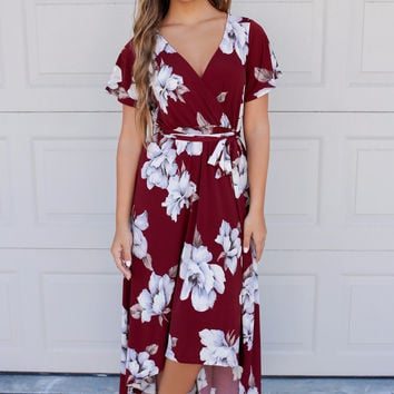 Welcome To Paradise Wine Floral Print Maxi Dress
