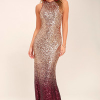 Infinite Dreams Burgundy and Rose Gold Ombre Sequin Maxi Dress