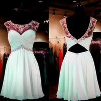 Mint Homecoming Dress A-line Empire Open Back Chiffon with Beaded Short Prom Dress APD1620