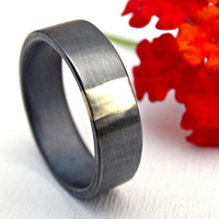 mens wedding band gold and silver, unique mens ring mixed metal promise ring, viking wedding ring solid gold, cool wedding ring black silver