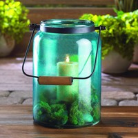 Blue Glass Jar Country Style Candle Lantern