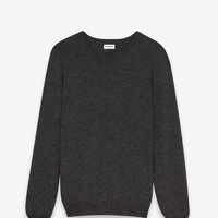 Saint Laurent Crew NECK Sweater IN HEATHER GREY CASHMERE | ysl.com