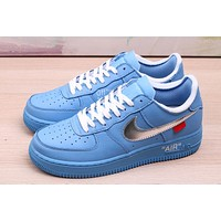 """Off white x Nike Air Force 1'08 """"MCA"""" air force blue silver hook"""