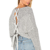 STYLESTALKER Hart Crop Sweater in White Charcoal Marle