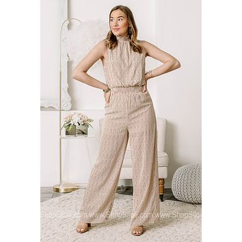 From The Jump Striped Neutral Jumpsuit