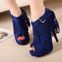 Sexy Women's Platform Peep Opened Toe Tassel High Heel Shoes Ankle Buckle Strap