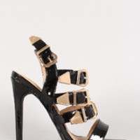 Women's Patent Buckle Strappy Open Toe Stiletto Heel