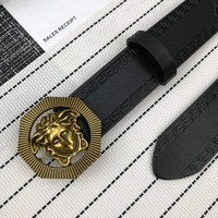 Versace 2018 new trend wild men and women models smooth buckle pants belt gold