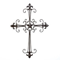 Wrought Iron Fleur De Lis Wall Cross