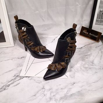lv louis vuitton trending womens men black leather side zip lace up ankle boots shoes high boots 5