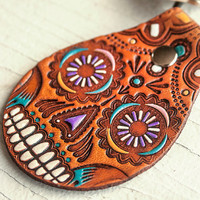 Sugar Skull Leather Keychain - painted and hand stamped Fob - Your Choice of Keychain Style - Day of the Dead - Mexicali