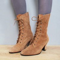 vintage LACE UP tan suede boots 8 by secretlake on Etsy