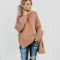 2018 Autumn Winter Warm Female Sweater Solid Thick Women Knitted Pullover Long Sleeve Sweater Turtleneck Mesh Femme Jersey Gray