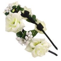 White Rose Hair Garland