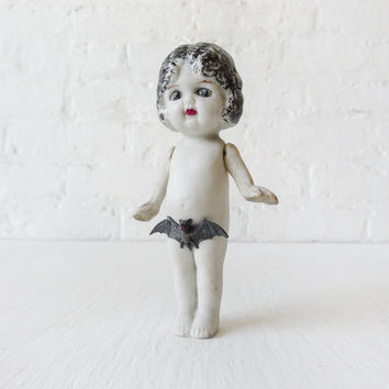 PeekaBoo Bat Girl - Dead Pale Vampire Girl with Bat Covering Bush - Antique Japanese Bisque Doll - Collectors Piece