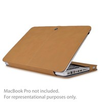 SlickBlue Suede Leather Clip-On Case for 13 MacBook Pro (Light Brown)