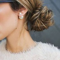 Double Sided Pearl Stud Earrings (White)