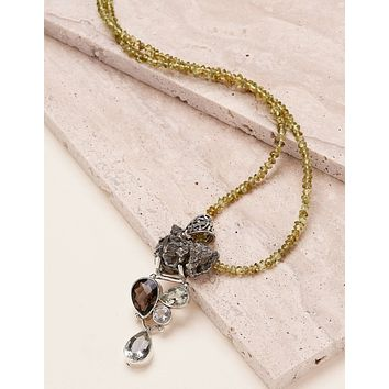Meteorite Nugget and Peridot Necklace - One of a Kind