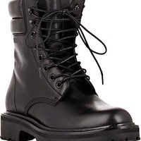 Handmade Men Black Leather Boot, Men Military Style Lace Up Leather Boot, Men ankle high boot