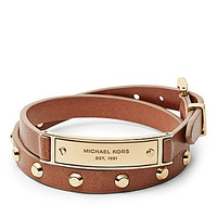 Michael Kors Double Wrap Leather Bracelet - Gold/Tan