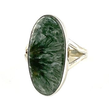 Seraphinite Sterling Silver Oval Ring
