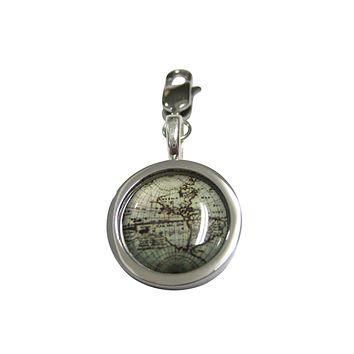 Bordered Old Style World Map Pendant Zipper Pull Charm