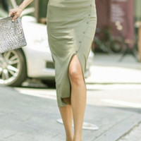 Green High Waist Button Side Slit Midi Pencil Skirt