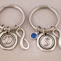 Two Best Friend Infinity Keychains | Best Friend Gift | Birthstone Keychain | Wax Seal Letter Charm | Gift for Best Friend | Custom Keyring