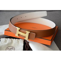Classic 32mm Hermès belt kit WHITE BROWN H Gold Brushed Buckle Herme size 100