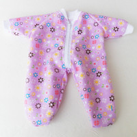 "Bitty Baby pajamas Clothes handmade for the 15"" Girl ,  or baby doll  zip up flannel feetie pjs sleeper Lavender Purple Heart Valentines day"